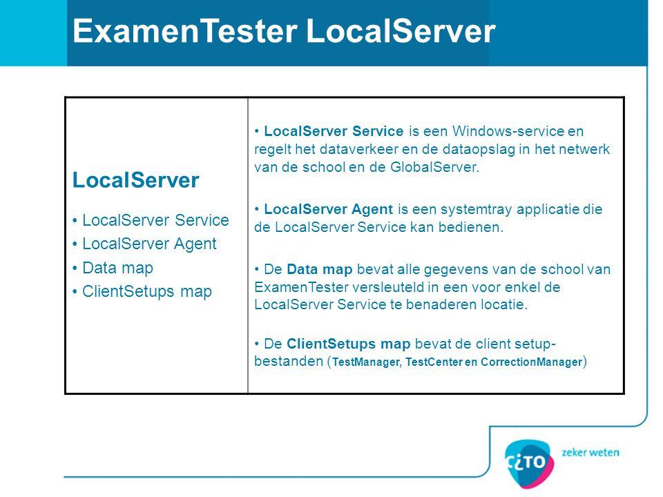 ExamenTester LocalServer LocalServer LocalServer Service LocalServer Agent Data map ClientSetups map LocalServer Service is een Windows-service en reg