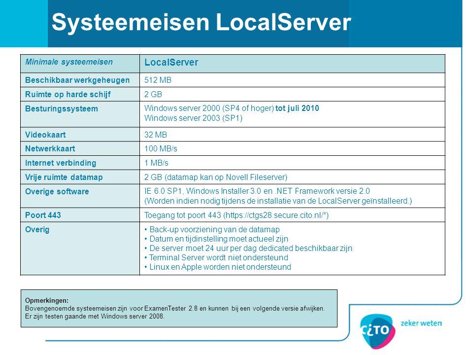 Systeemeisen LocalServer Minimale systeemeisen LocalServer Beschikbaar werkgeheugen512 MB Ruimte op harde schijf2 GB BesturingssysteemWindows server 2