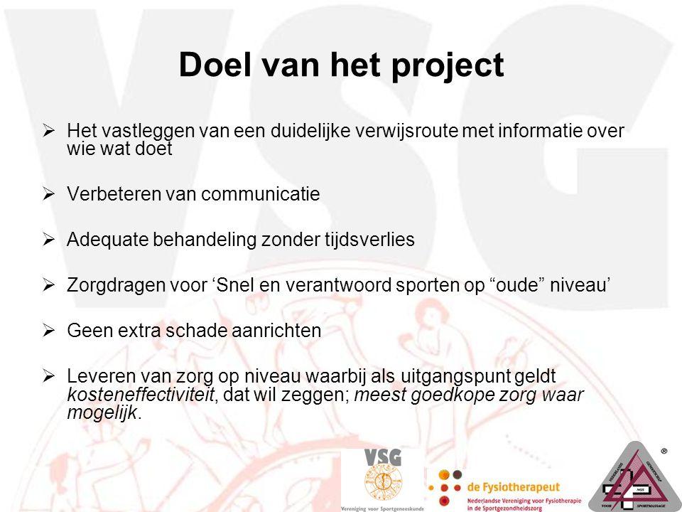 Doel van het project  Het vastleggen van een duidelijke verwijsroute met informatie over wie wat doet  Verbeteren van communicatie  Adequate behand
