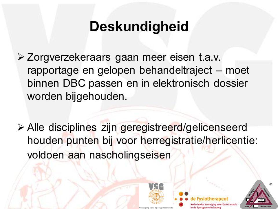 Deskundigheid  Zorgverzekeraars gaan meer eisen t.a.v. rapportage en gelopen behandeltraject – moet binnen DBC passen en in elektronisch dossier word
