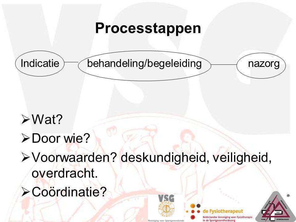 Processtappen Indicatie behandeling/begeleiding nazorg  Wat?  Door wie?  Voorwaarden? deskundigheid, veiligheid, overdracht.  Coördinatie?