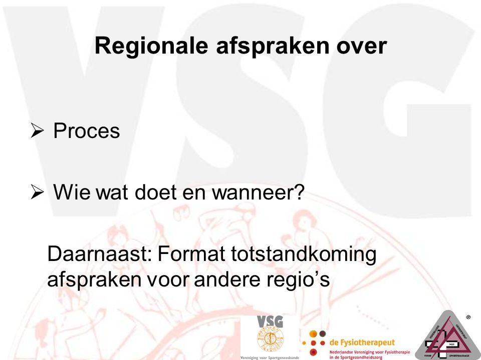 Regionale afspraken over  Proces  Wie wat doet en wanneer? Daarnaast: Format totstandkoming afspraken voor andere regio's