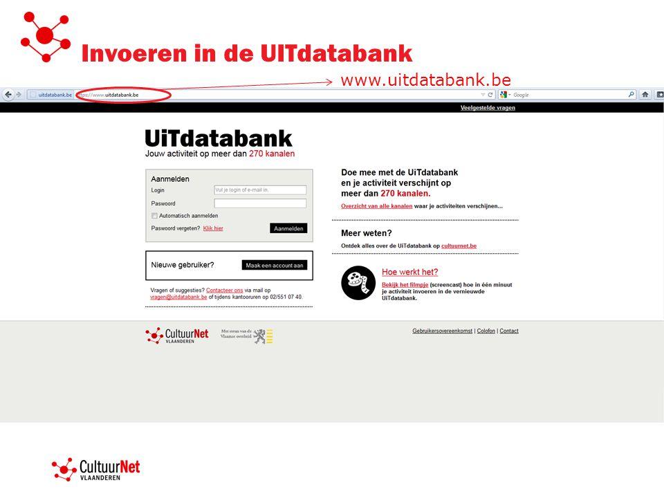 Invoeren in de UITdatabank www.uitdatabank.be
