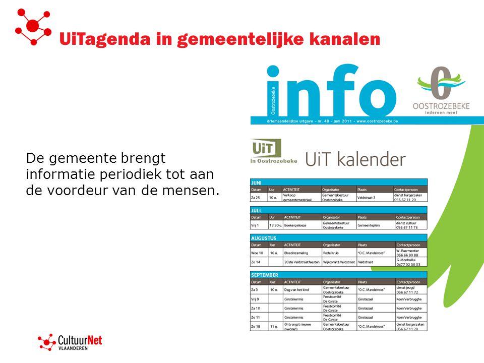 UiTagenda in gemeentelijke kanalen De gemeente brengt informatie periodiek tot aan de voordeur van de mensen.