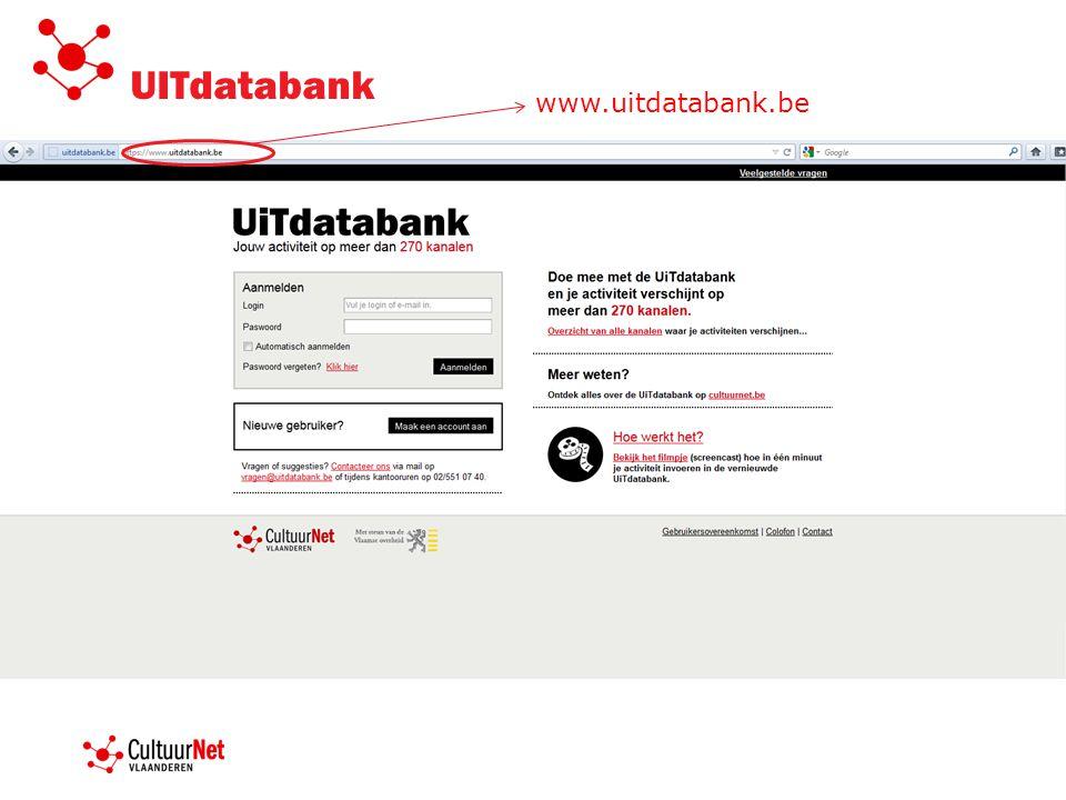www.UiTdatabank.be invoer van cultuur- en vrijetijdsaanbod moderatie UiTdatabank