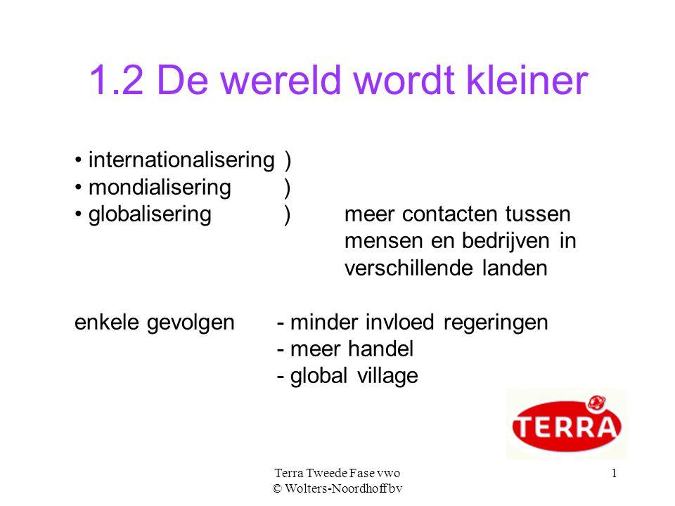 Terra Tweede Fase vwo © Wolters-Noordhoff bv 1 1.2 De wereld wordt kleiner internationalisering ) mondialisering ) globalisering ) meer contacten tuss