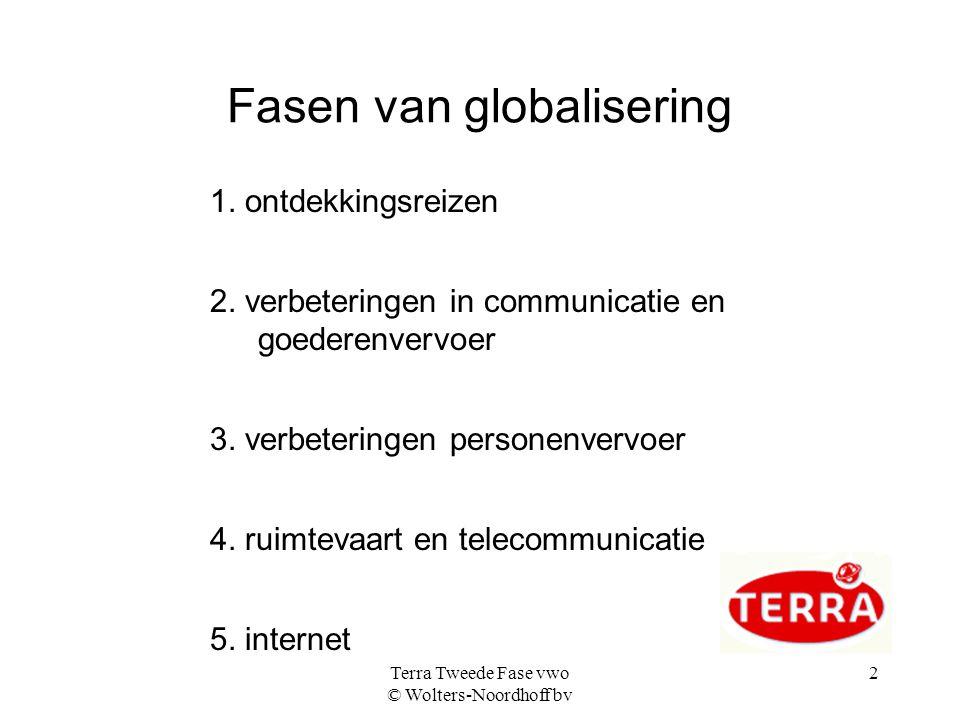 Terra Tweede Fase vwo © Wolters-Noordhoff bv 2 Fasen van globalisering 1. ontdekkingsreizen 2. verbeteringen in communicatie en goederenvervoer 3. ver