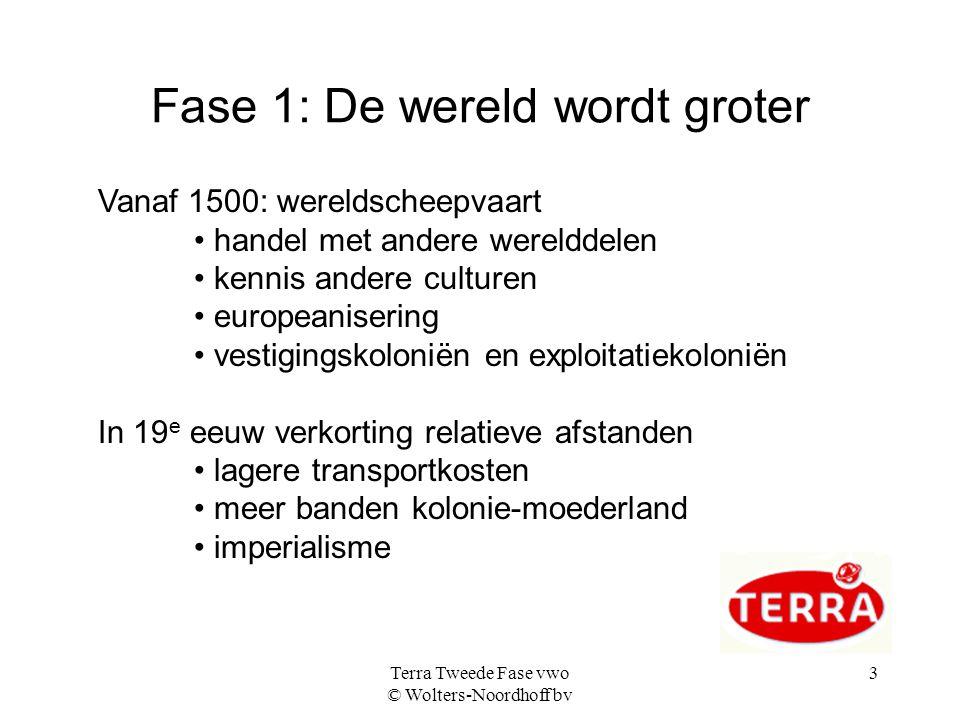 Terra Tweede Fase vwo © Wolters-Noordhoff bv 3 Fase 1: De wereld wordt groter Vanaf 1500: wereldscheepvaart handel met andere werelddelen kennis ander