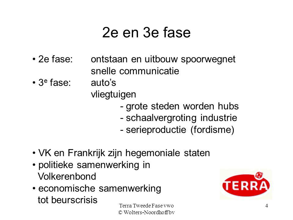 Terra Tweede Fase vwo © Wolters-Noordhoff bv 4 2e en 3e fase 2e fase: ontstaan en uitbouw spoorwegnet snelle communicatie 3 e fase:auto's vliegtuigen
