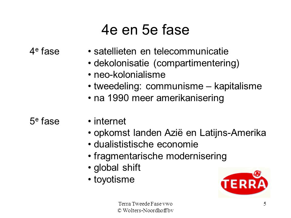 Terra Tweede Fase vwo © Wolters-Noordhoff bv 5 4e en 5e fase 4 e fase satellieten en telecommunicatie dekolonisatie (compartimentering) neo-kolonialis