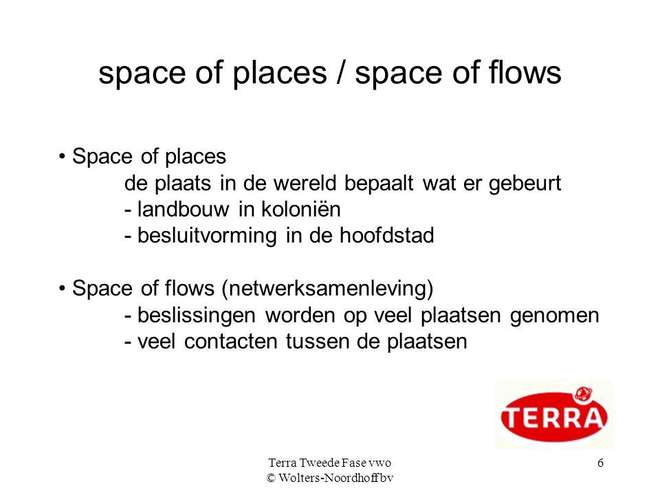 Terra Tweede Fase vwo © Wolters-Noordhoff bv 6 space of places / space of flows Space of places de plaats in de wereld bepaalt wat er gebeurt - landbo