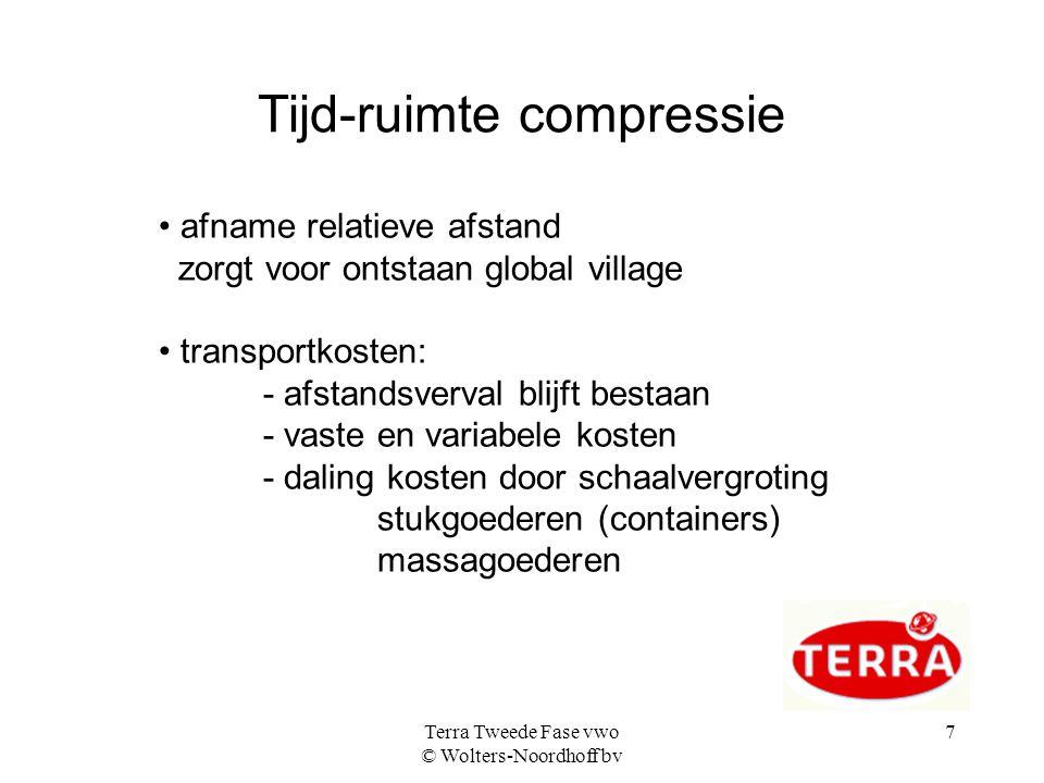 Terra Tweede Fase vwo © Wolters-Noordhoff bv 7 Tijd-ruimte compressie afname relatieve afstand zorgt voor ontstaan global village transportkosten: - a