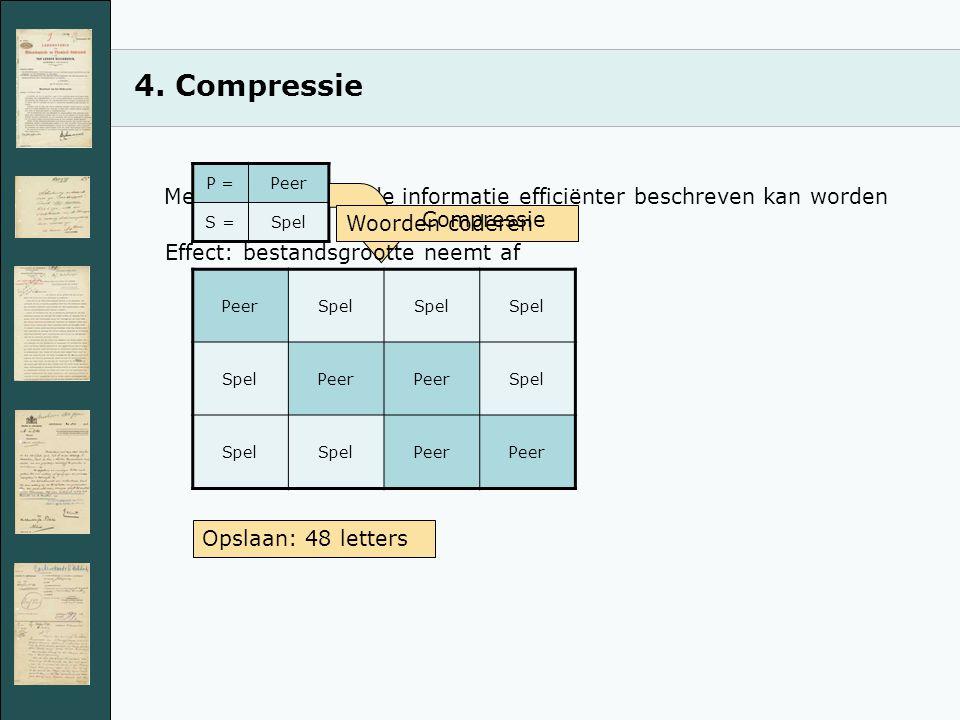4. Compressie Methode waarmee de informatie efficiënter beschreven kan worden PeerSpel Peer Spel Peer Opslaan: 48 letters P =Peer S =Spel Woorden code
