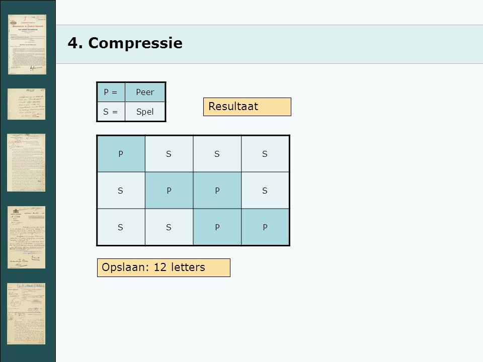 4. Compressie PSSS SPPS SSPP Opslaan: 12 letters P =Peer S =Spel Resultaat