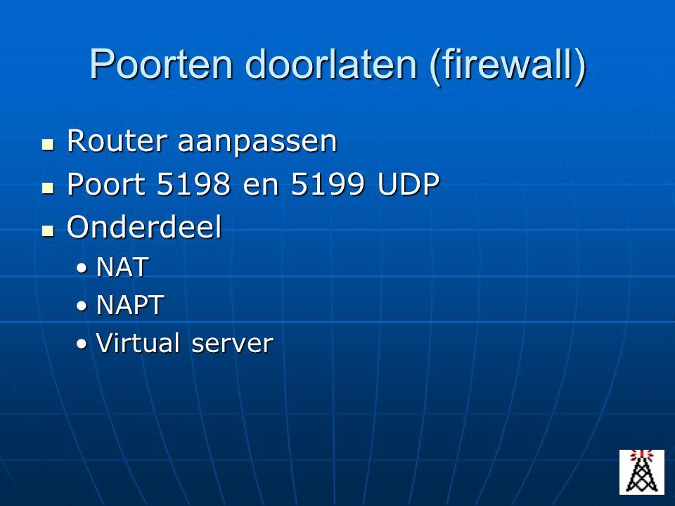 Poorten doorlaten (firewall) Router aanpassen Router aanpassen Poort 5198 en 5199 UDP Poort 5198 en 5199 UDP Onderdeel Onderdeel NATNAT NAPTNAPT Virtu