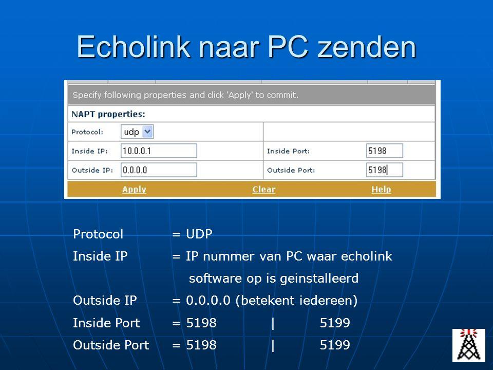 Echolink naar PC zenden Protocol= UDP Inside IP= IP nummer van PC waar echolink software op is geinstalleerd Outside IP= 0.0.0.0 (betekent iedereen) I