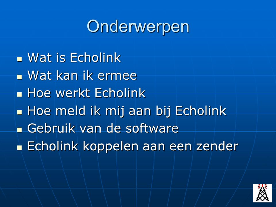 Echolink naar PC zenden Protocol= UDP Inside IP= IP nummer van PC waar echolink software op is geinstalleerd Outside IP= 0.0.0.0 (betekent iedereen) Inside Port= 5198 |5199 Outside Port= 5198 |5199