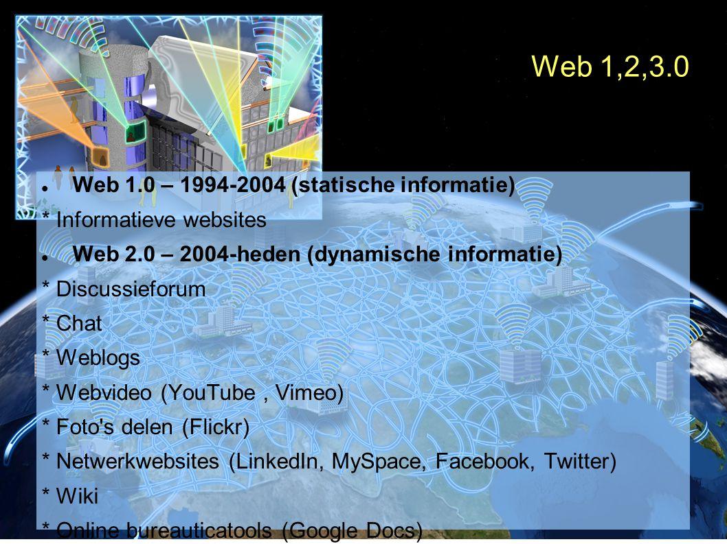 Web 1,2,3.0 Web 1.0 – 1994-2004 (statische informatie) * Informatieve websites Web 2.0 – 2004-heden (dynamische informatie) * Discussieforum * Chat * Weblogs * Webvideo (YouTube, Vimeo) * Foto s delen (Flickr) * Netwerkwebsites (LinkedIn, MySpace, Facebook, Twitter) * Wiki * Online bureauticatools (Google Docs) * RSS-feeds * Interessante websites bijhouden en delen (Del.icio.us) * Virtuele werelden (Second life) Web 3.0 – In ontwikkeling (besturing)