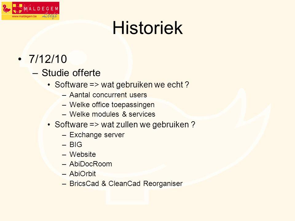 Historiek 7/12/10 –Studie offerte Software => wat gebruiken we echt ? –Aantal concurrent users –Welke office toepassingen –Welke modules & services So
