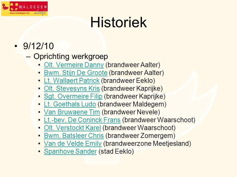 Historiek 9/12/10 –Oprichting werkgroep Olt. Vermeire Danny (brandweer Aalter)Olt. Vermeire Danny Bwm. Stijn De Groote (brandweer Aalter)Bwm. Stijn De