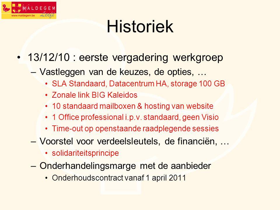 Historiek 13/12/10 : eerste vergadering werkgroep –Vastleggen van de keuzes, de opties, … SLA Standaard, Datacentrum HA, storage 100 GB Zonale link BI