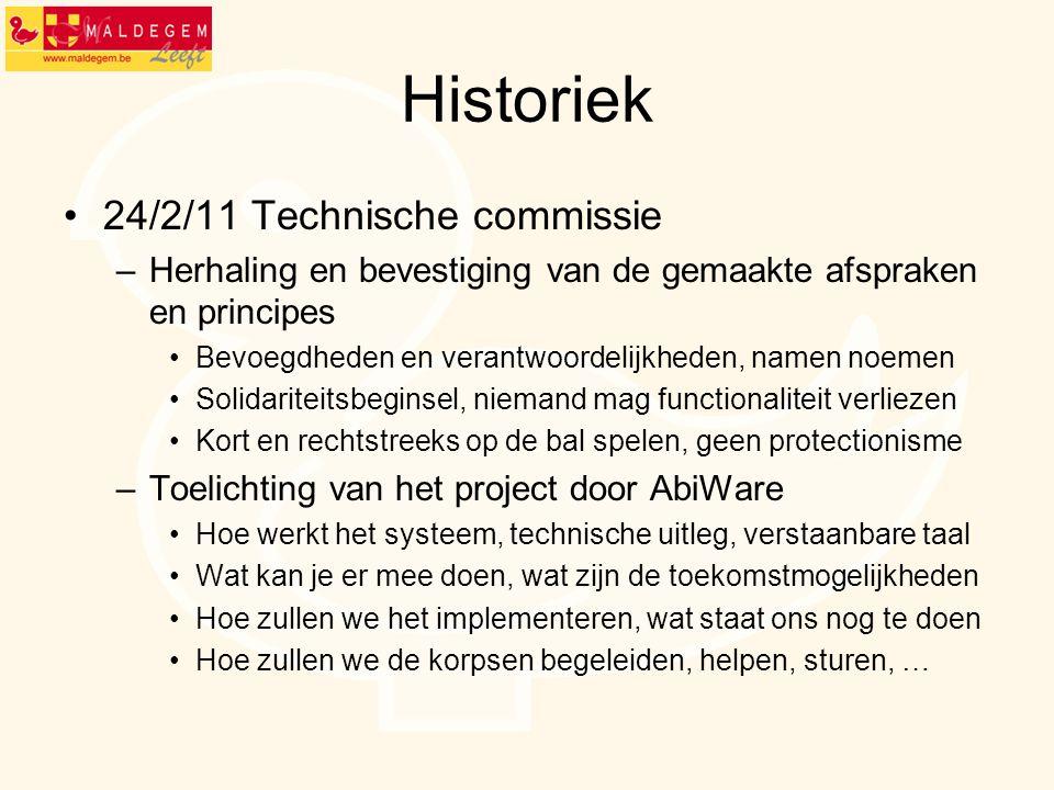 Historiek 24/2/11 Technische commissie –Herhaling en bevestiging van de gemaakte afspraken en principes Bevoegdheden en verantwoordelijkheden, namen n