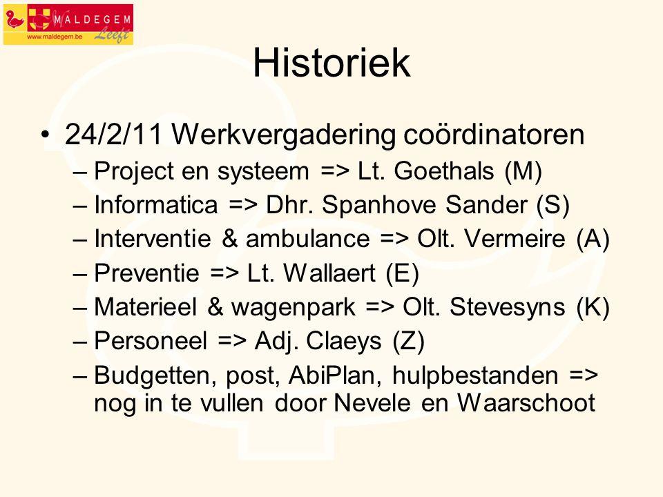 Historiek 24/2/11 Werkvergadering coördinatoren –Project en systeem => Lt. Goethals (M) –Informatica => Dhr. Spanhove Sander (S) –Interventie & ambula