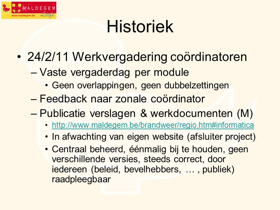 Historiek 24/2/11 Werkvergadering coördinatoren –Vaste vergaderdag per module Geen overlappingen, geen dubbelzettingen –Feedback naar zonale coördinat