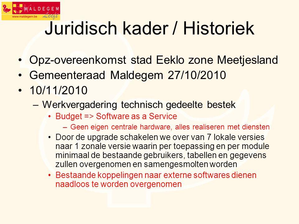 Juridisch kader / Historiek Opz-overeenkomst stad Eeklo zone Meetjesland Gemeenteraad Maldegem 27/10/2010 10/11/2010 –Werkvergadering technisch gedeel