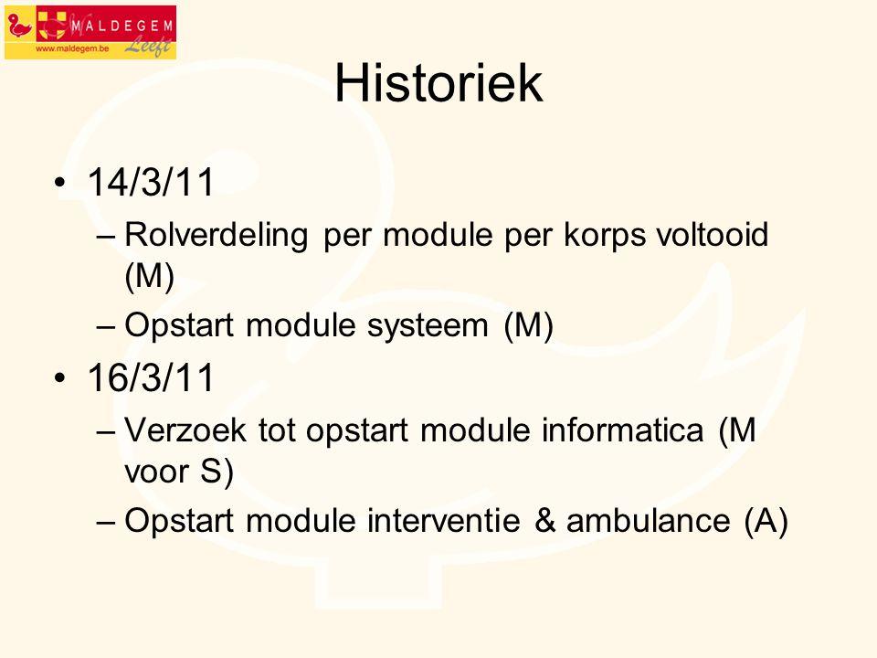 Historiek 14/3/11 –Rolverdeling per module per korps voltooid (M) –Opstart module systeem (M) 16/3/11 –Verzoek tot opstart module informatica (M voor