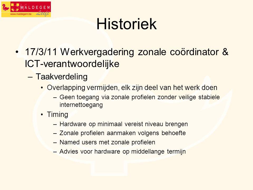 Historiek 17/3/11 Werkvergadering zonale coördinator & ICT-verantwoordelijke –Taakverdeling Overlapping vermijden, elk zijn deel van het werk doen –Ge