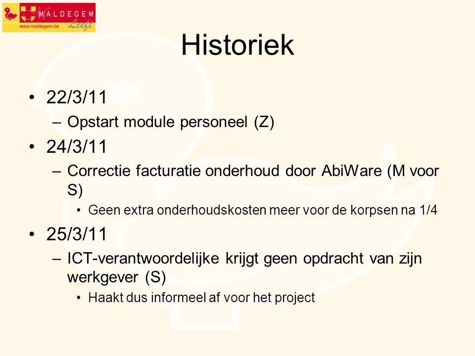 Historiek 22/3/11 –Opstart module personeel (Z) 24/3/11 –Correctie facturatie onderhoud door AbiWare (M voor S) Geen extra onderhoudskosten meer voor