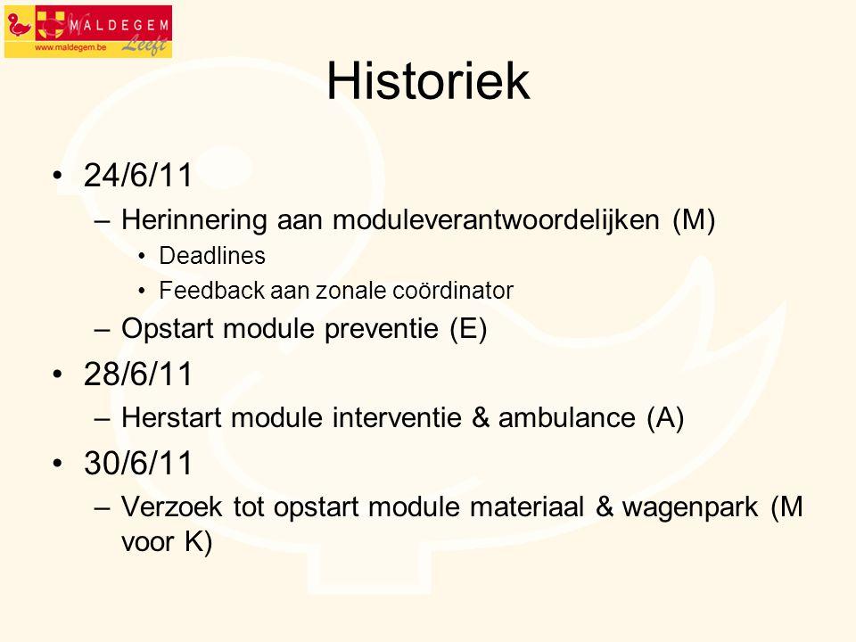 Historiek 24/6/11 –Herinnering aan moduleverantwoordelijken (M) Deadlines Feedback aan zonale coördinator –Opstart module preventie (E) 28/6/11 –Herst