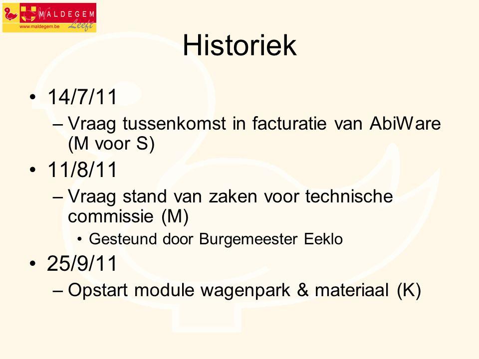 Historiek 14/7/11 –Vraag tussenkomst in facturatie van AbiWare (M voor S) 11/8/11 –Vraag stand van zaken voor technische commissie (M) Gesteund door B