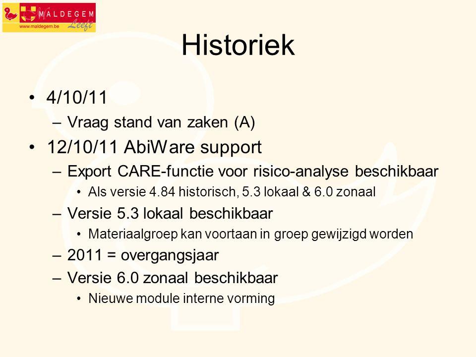 Historiek 4/10/11 –Vraag stand van zaken (A) 12/10/11 AbiWare support –Export CARE-functie voor risico-analyse beschikbaar Als versie 4.84 historisch,