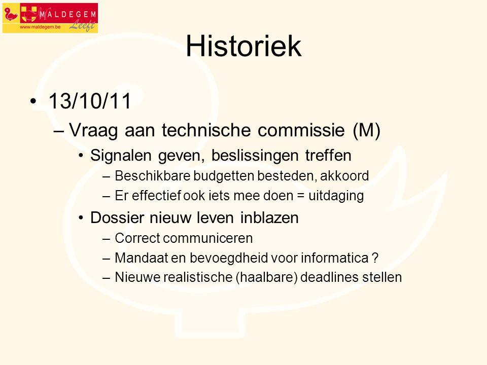 Historiek 13/10/11 –Vraag aan technische commissie (M) Signalen geven, beslissingen treffen –Beschikbare budgetten besteden, akkoord –Er effectief ook