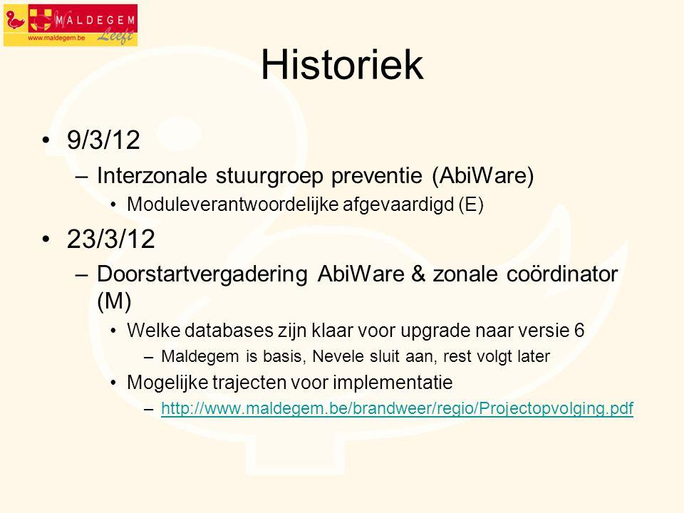 Historiek 9/3/12 –Interzonale stuurgroep preventie (AbiWare) Moduleverantwoordelijke afgevaardigd (E) 23/3/12 –Doorstartvergadering AbiWare & zonale c