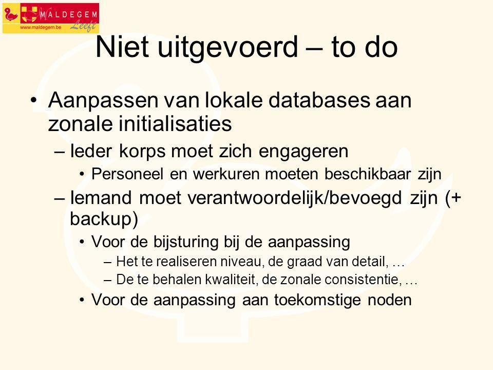 Niet uitgevoerd – to do Aanpassen van lokale databases aan zonale initialisaties –Ieder korps moet zich engageren Personeel en werkuren moeten beschik