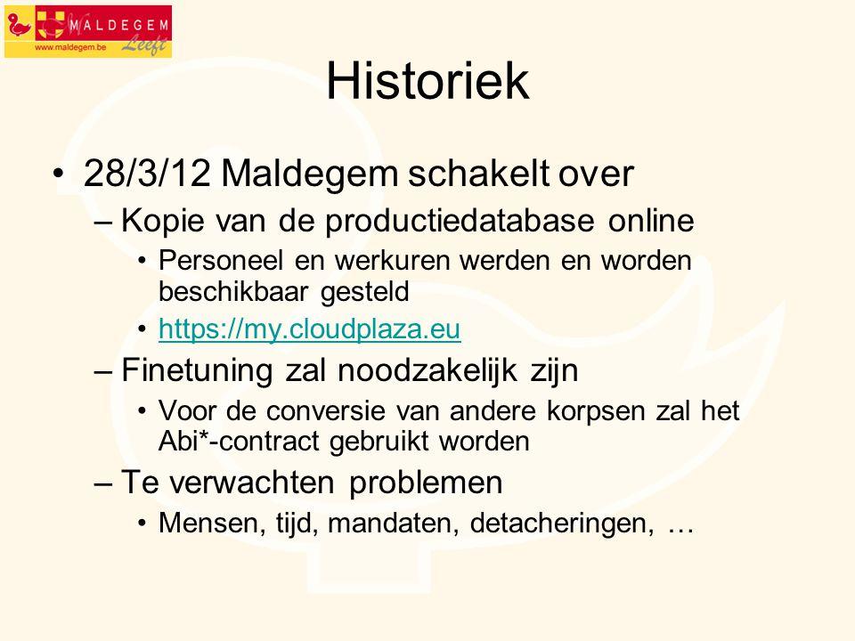 Historiek 28/3/12 Maldegem schakelt over –Kopie van de productiedatabase online Personeel en werkuren werden en worden beschikbaar gesteld https://my.