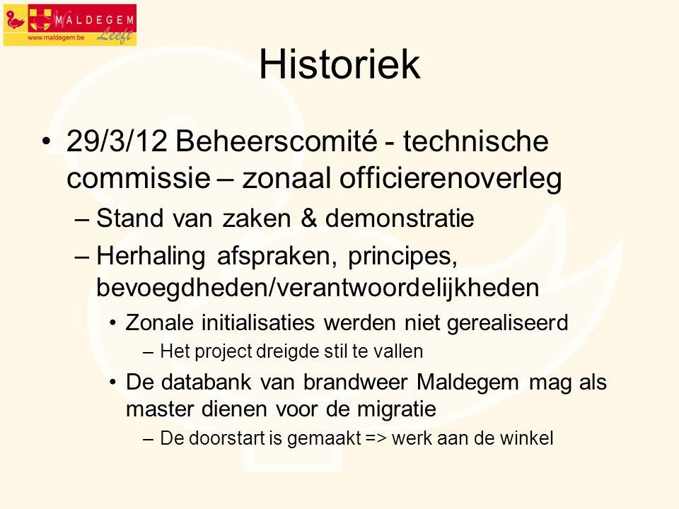 Historiek 29/3/12 Beheerscomité - technische commissie – zonaal officierenoverleg –Stand van zaken & demonstratie –Herhaling afspraken, principes, bev