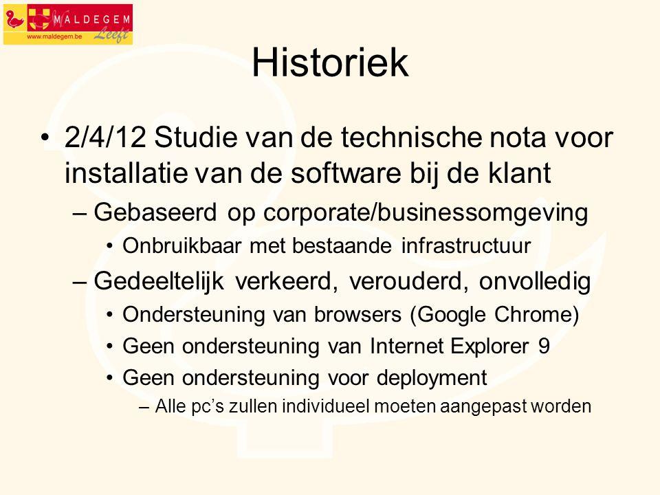 Historiek 2/4/12 Studie van de technische nota voor installatie van de software bij de klant –Gebaseerd op corporate/businessomgeving Onbruikbaar met