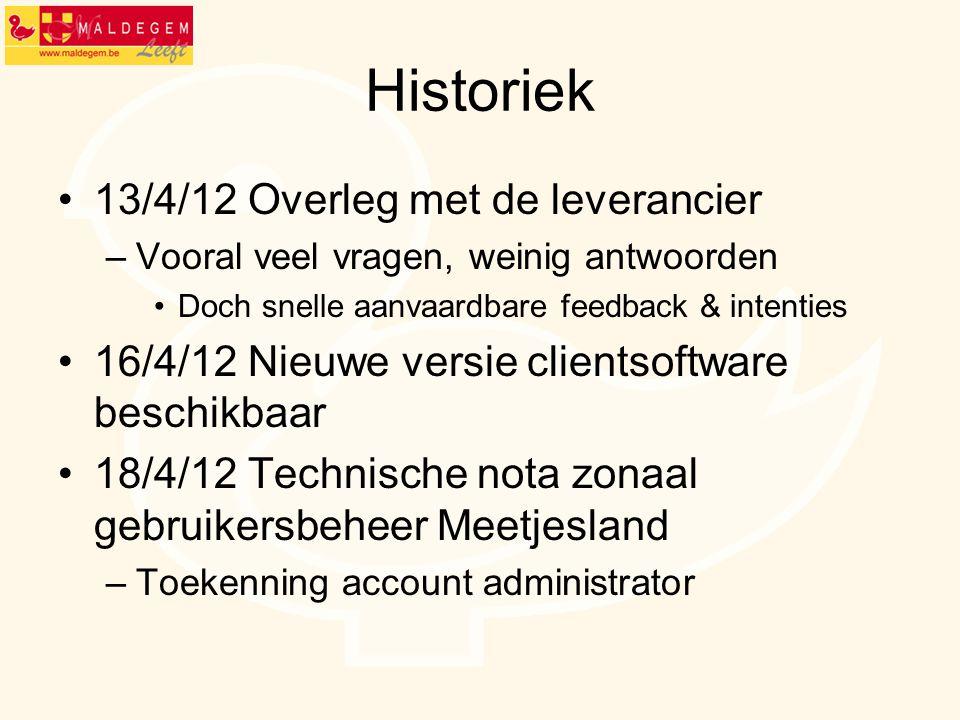 Historiek 13/4/12 Overleg met de leverancier –Vooral veel vragen, weinig antwoorden Doch snelle aanvaardbare feedback & intenties 16/4/12 Nieuwe versi