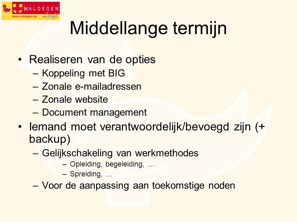 Middellange termijn Realiseren van de opties –Koppeling met BIG –Zonale e-mailadressen –Zonale website –Document management Iemand moet verantwoordeli