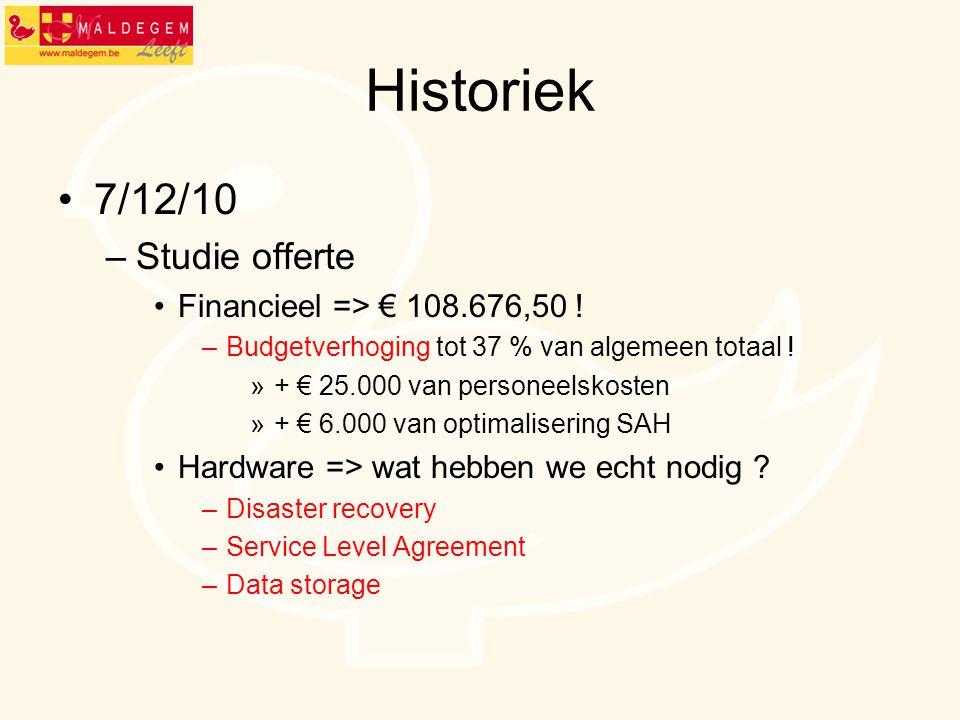 Historiek 7/12/10 –Studie offerte Financieel => € 108.676,50 ! –Budgetverhoging tot 37 % van algemeen totaal ! »+ € 25.000 van personeelskosten »+ € 6