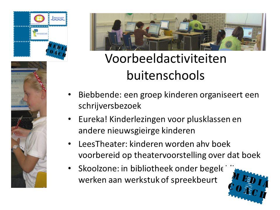 Voorbeeldactiviteiten buitenschools Biebbende: een groep kinderen organiseert een schrijversbezoek Eureka! Kinderlezingen voor plusklassen en andere n