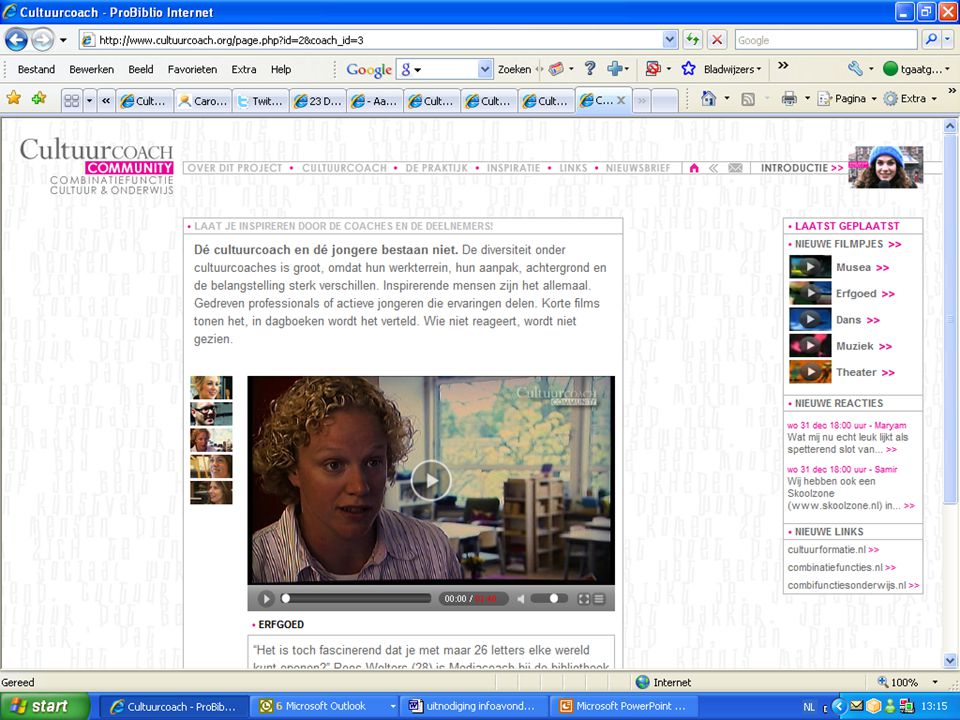MEDIACOACH CAPELLE A/D IJSSEL Mediacoaches fungeren als spreekwoordelijke 'spin in het web'; zij faciliteren en begeleiden vakdocenten en initiëren mediaprojecten in samenwerking met buitenschoolse partijen (Raad van Cultuur 2005)