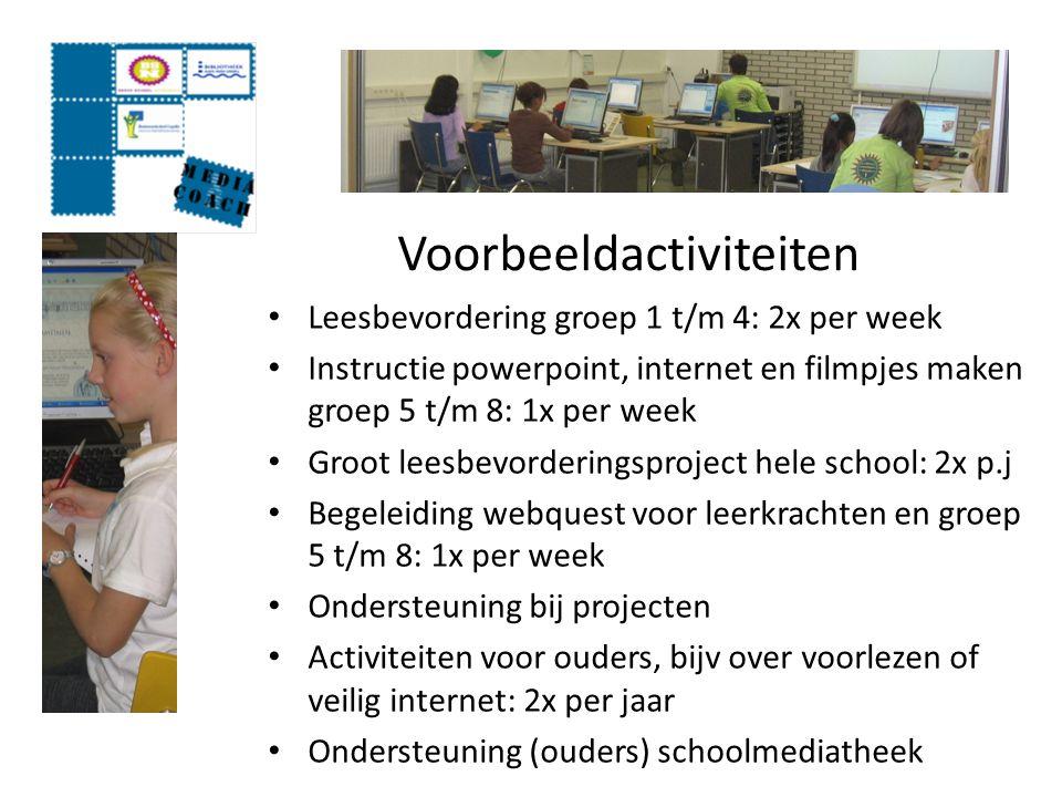 Voorbeeldactiviteiten Leesbevordering groep 1 t/m 4: 2x per week Instructie powerpoint, internet en filmpjes maken groep 5 t/m 8: 1x per week Groot le