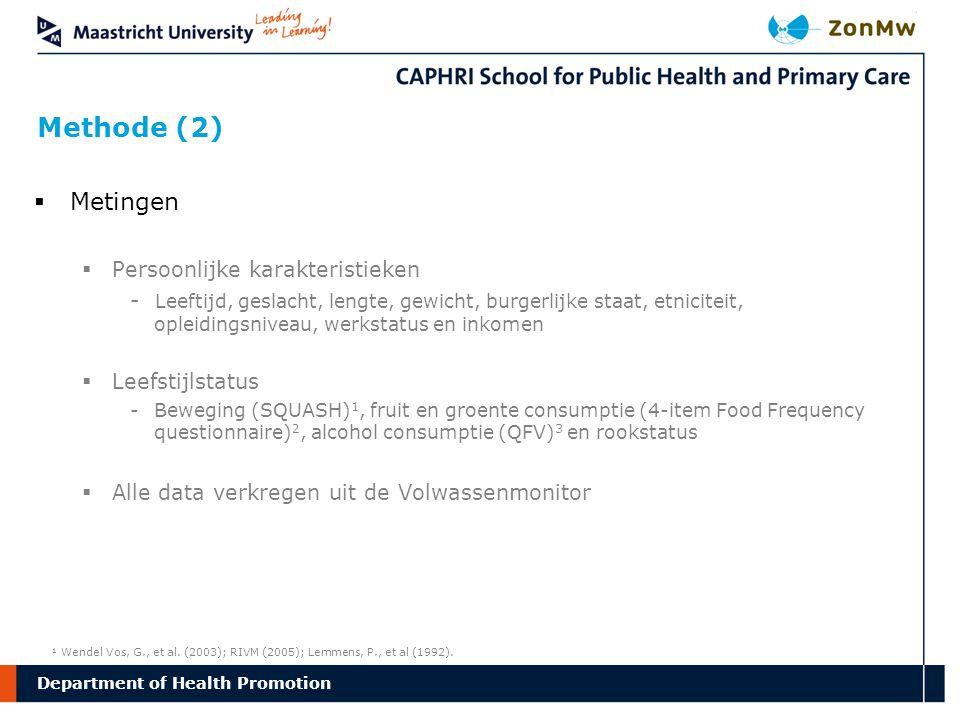 Department Methode (2) of Health Promotion  Metingen  Persoonlijke karakteristieken - Leeftijd, geslacht, lengte, gewicht, burgerlijke staat, etnici