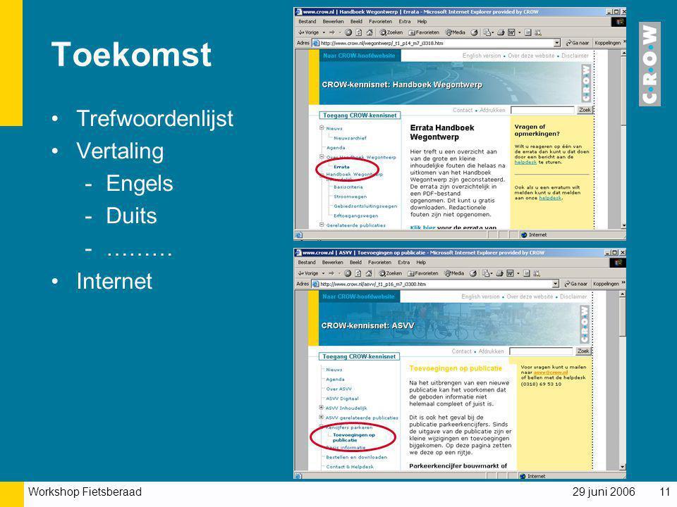 Workshop Fietsberaad 29 juni 200611 Toekomst Trefwoordenlijst Vertaling -Engels -Duits -……… Internet
