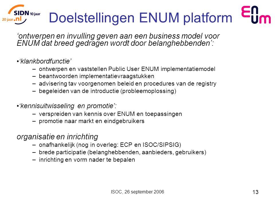 ISOC, 26 september 2006 13 Doelstellingen ENUM platform 'ontwerpen en invulling geven aan een business model voor ENUM dat breed gedragen wordt door belanghebbenden': 'klankbordfunctie' –ontwerpen en vaststellen Public User ENUM implementatiemodel –beantwoorden implementatievraagstukken –advisering tav voorgenomen beleid en procedures van de registry –begeleiden van de introductie (probleemoplossing) 'kennisuitwisseling en promotie': –verspreiden van kennis over ENUM en toepassingen –promotie naar markt en eindgebruikers organisatie en inrichting –onafhankelijk (nog in overleg: ECP en ISOC/SIPSIG) –brede participatie (belanghebbenden, aanbieders, gebruikers) –inrichting en vorm nader te bepalen
